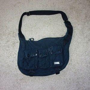 Oakley Shoulder Hobo Bag Purse Snap Pockets Black